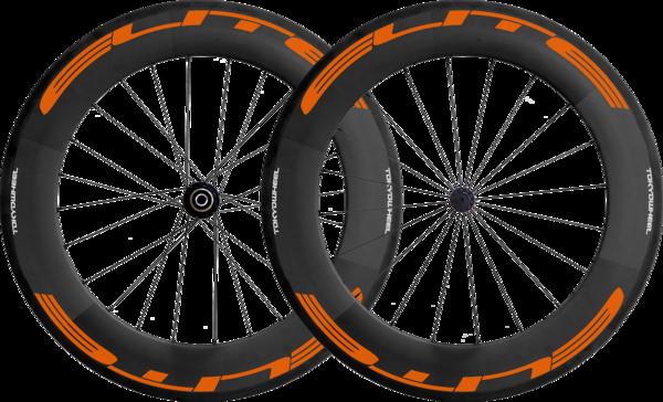 Elite 88 carbon tubular wheelset orange grande