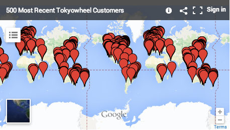 Tokyowheel Carte des clients