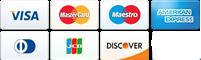 VISA, Mastercard, Maestro, Discover, Diners Club, JCB